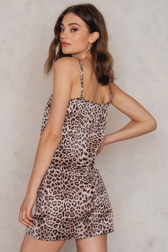 Straight Mini Leo Slip Dress Leopard