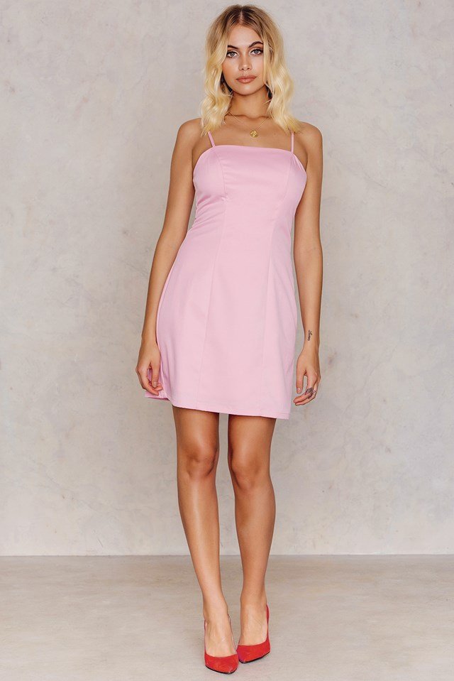 Straight Neckline Mini Dress Pink