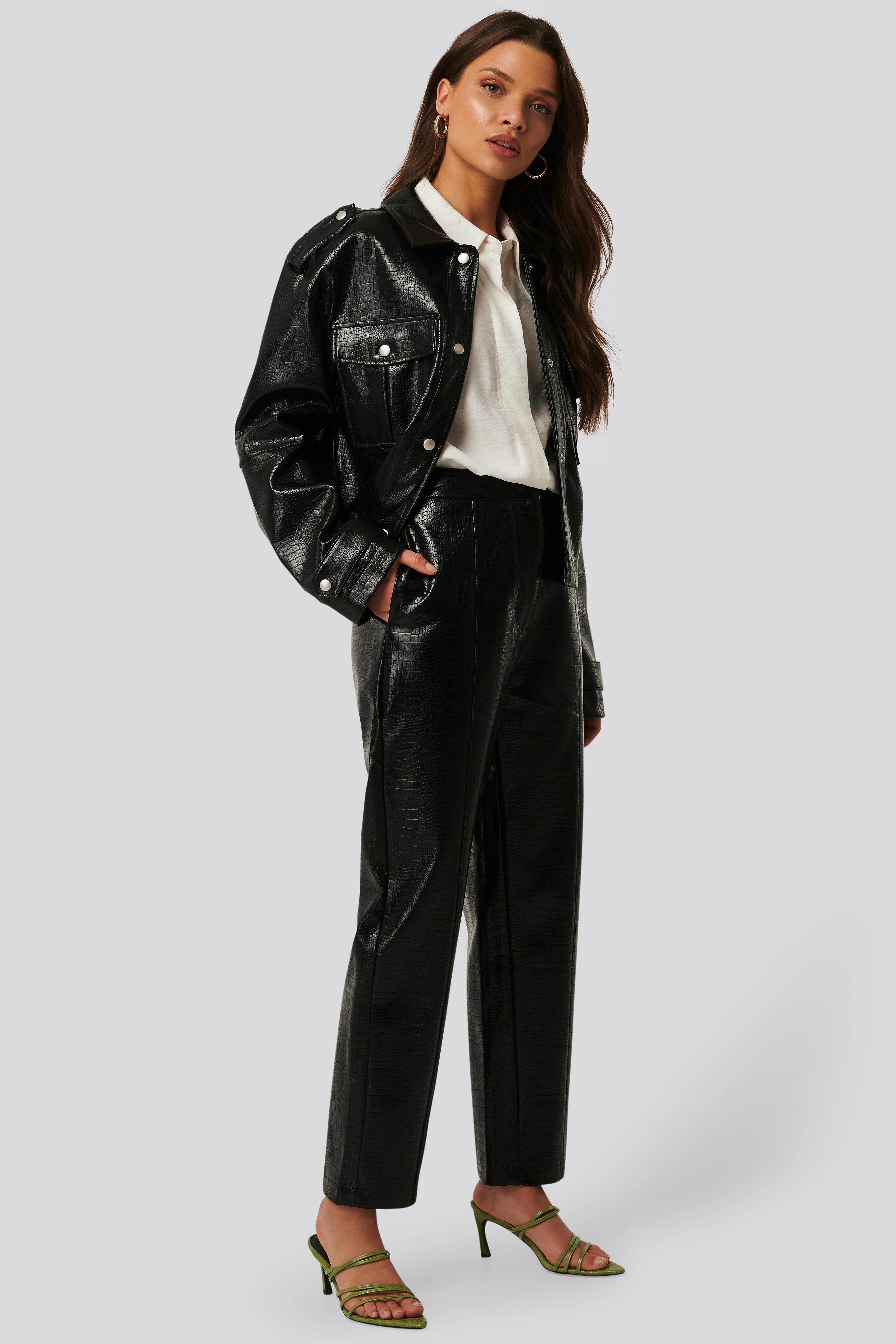 na-kd trend -  Straight PU Reptile Pants - Black