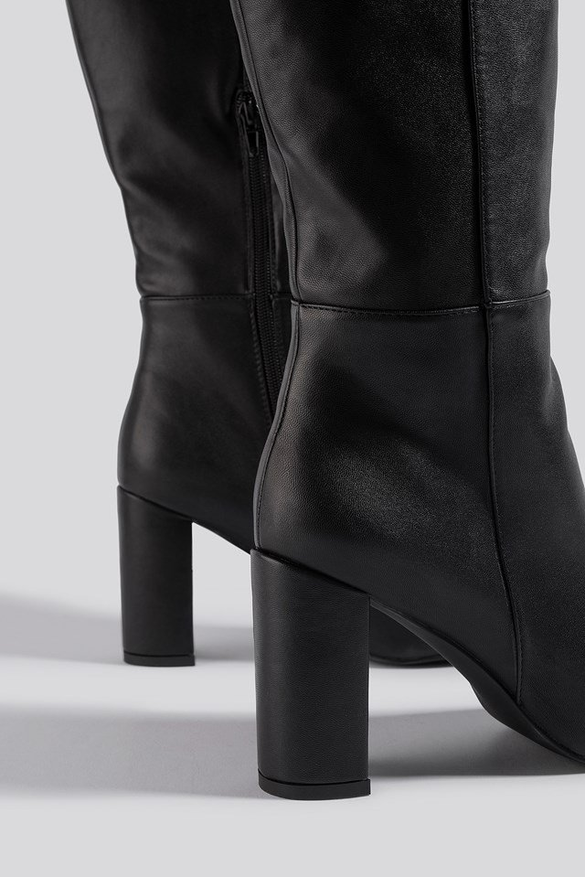 Straight Shaft Knee High Boots Black