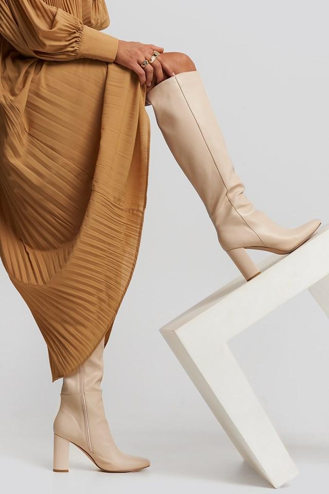 Straight Shaft Knee High Boots Nude