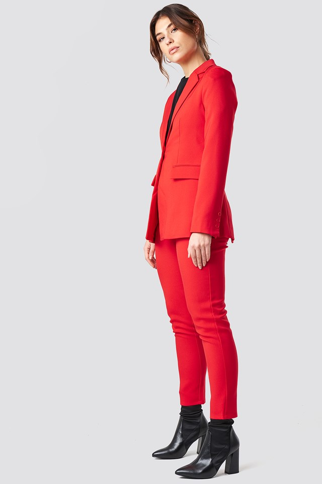 Straight Suit Pants Red