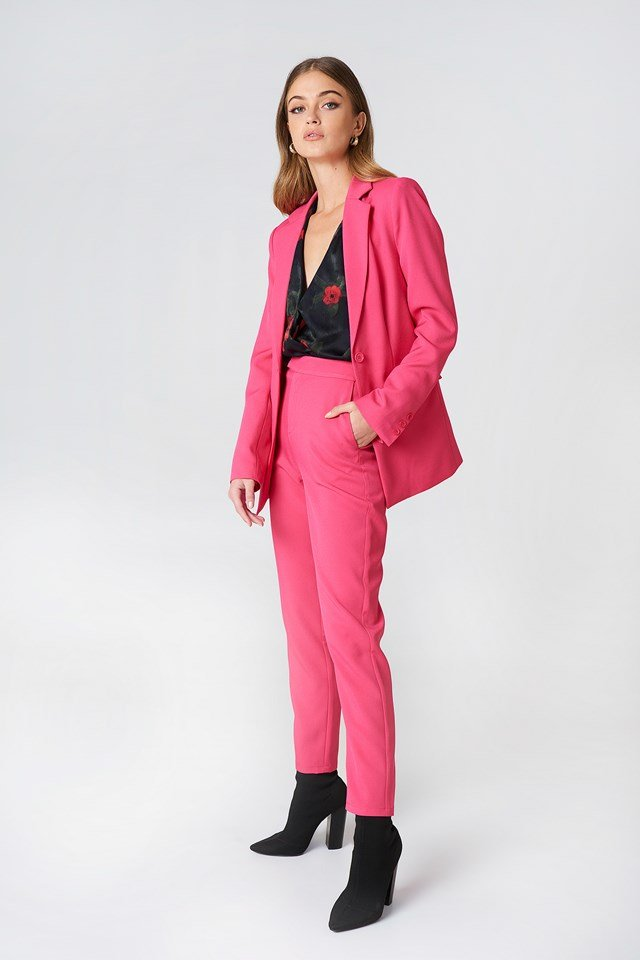 Straight Suit Pants Magenta
