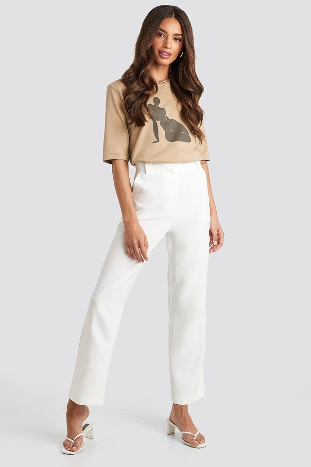 Straight Suit Pants White