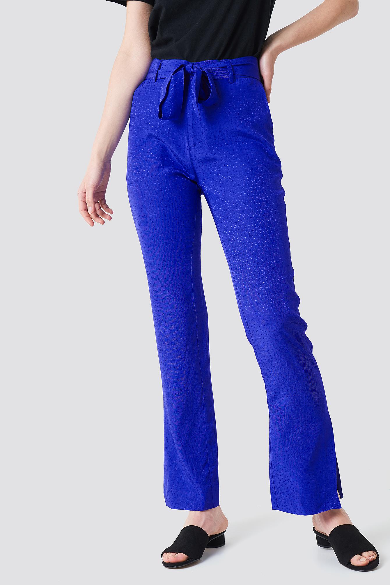 Straight Tie Waist Jacquard Pants NA-KD.COM