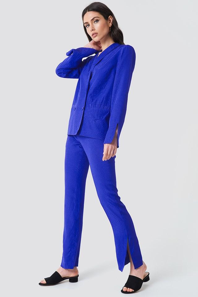 Straight Tie Waist Jacquard Pants Cobalt
