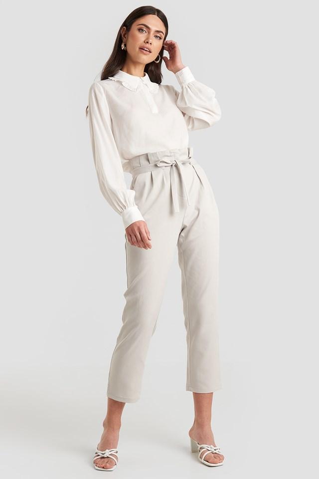 Straight Tied Waist Pants Light Grey