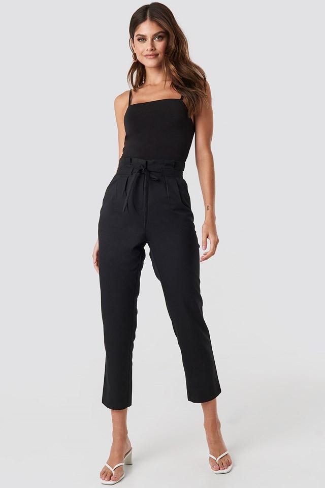 Straight Tied Waist Pants Black