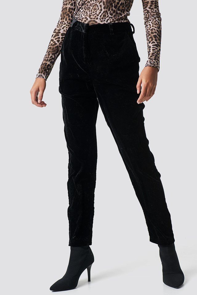 Straight Velvet Suit Pants Black