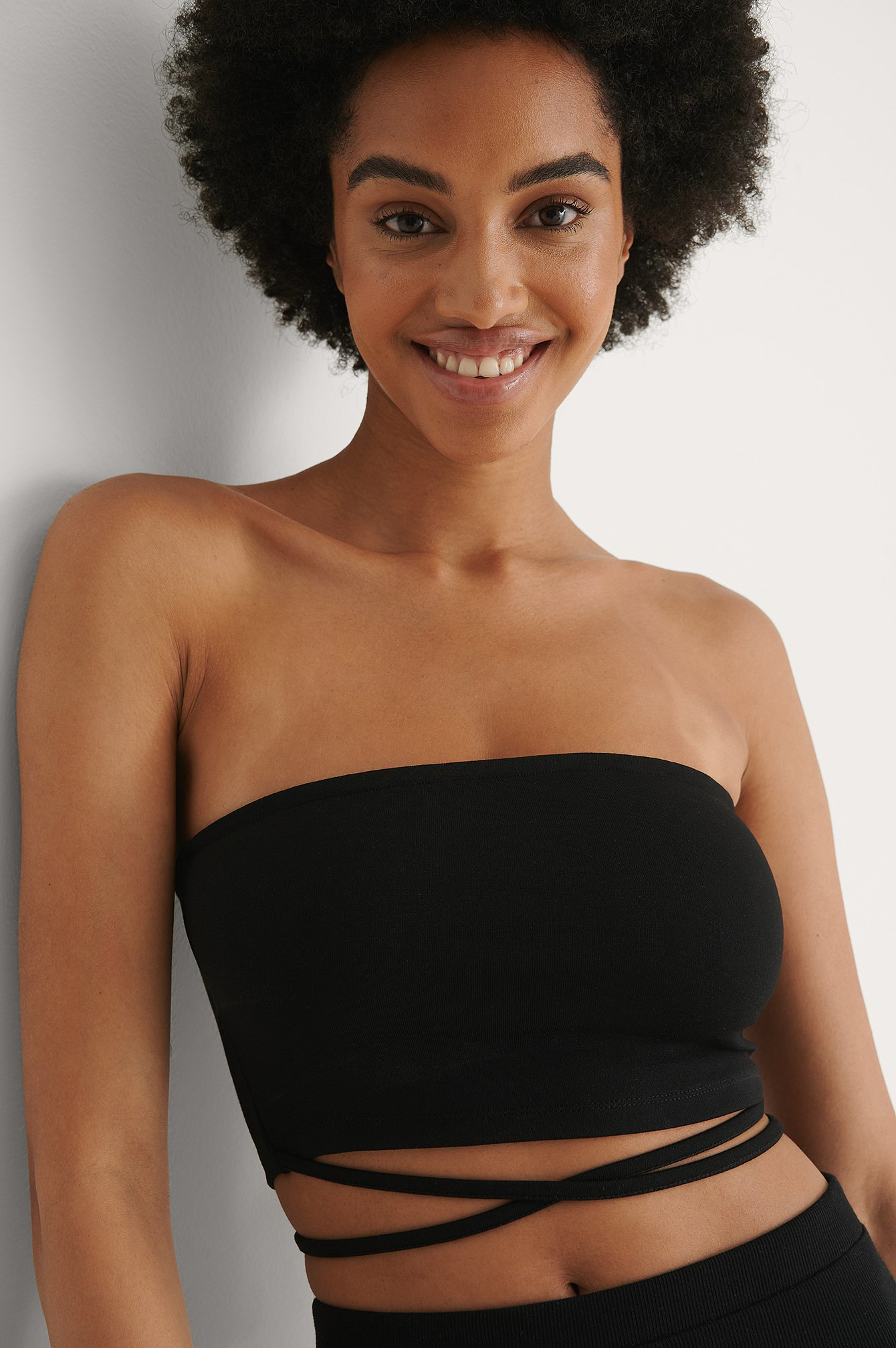 Black Strap Detail Bandeau Top
