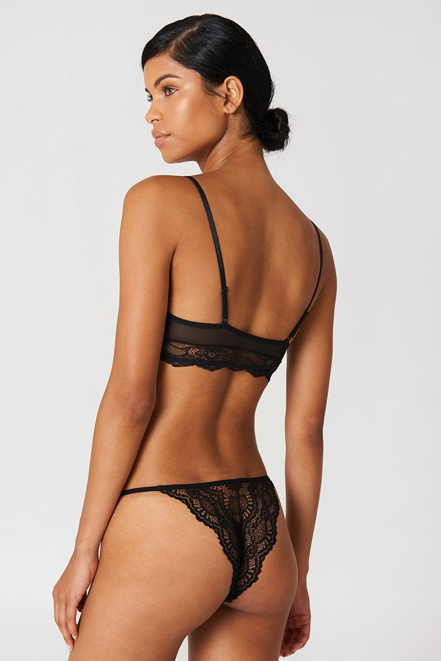 Strap Lace Briefs Black