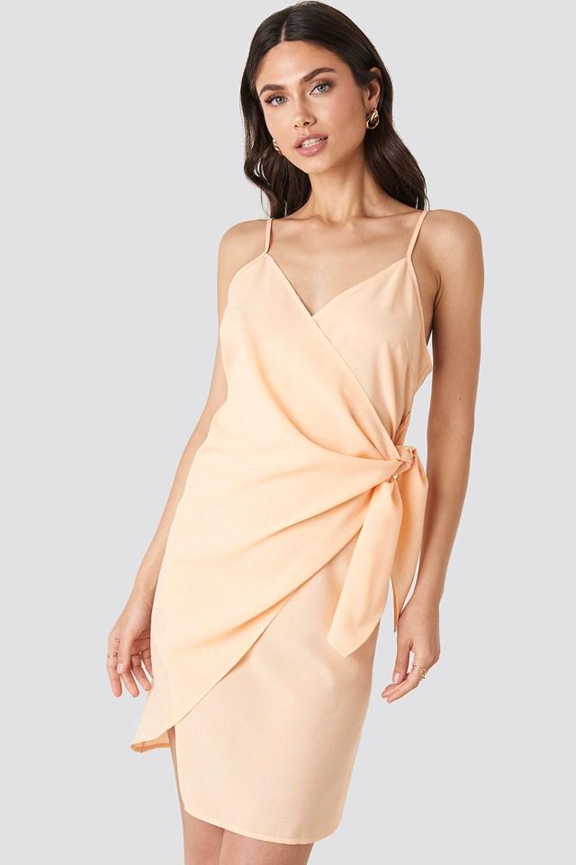 Strap Overlap Mini Dress Apricot