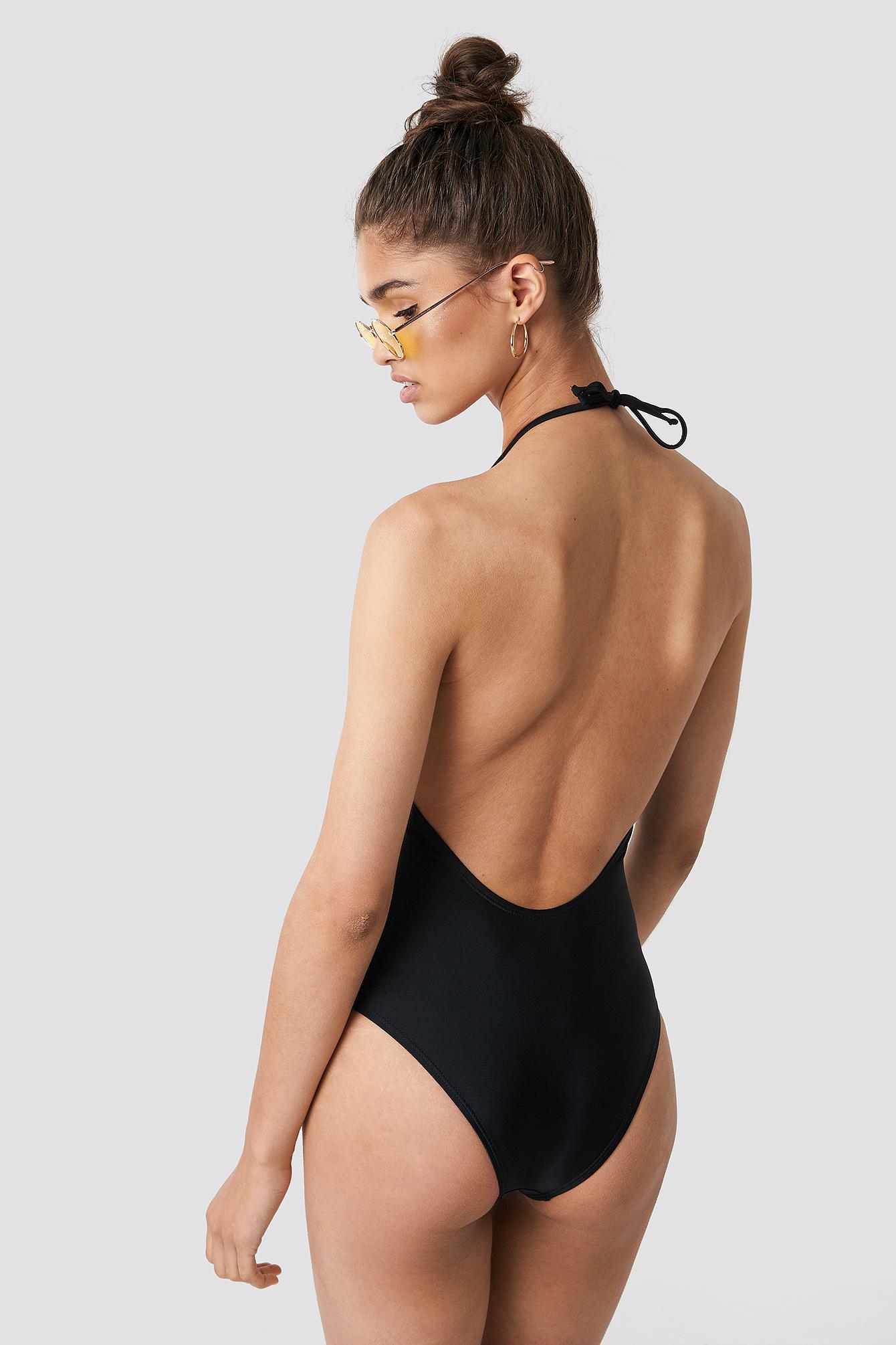 Strap Plunge Halterneck Swimsuit NA-KD.COM