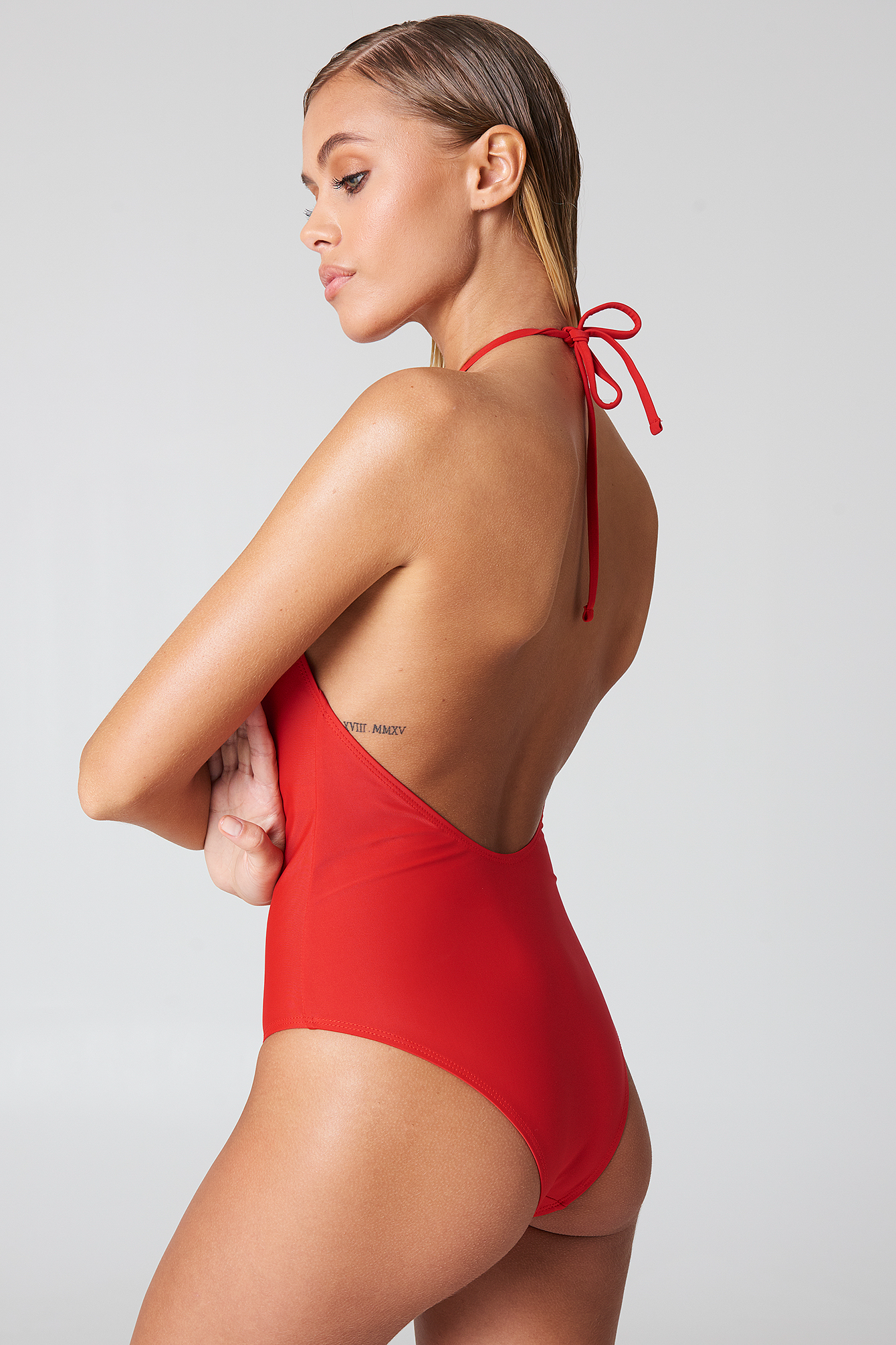 Red Strap Plunge Halterneck Swimsuit