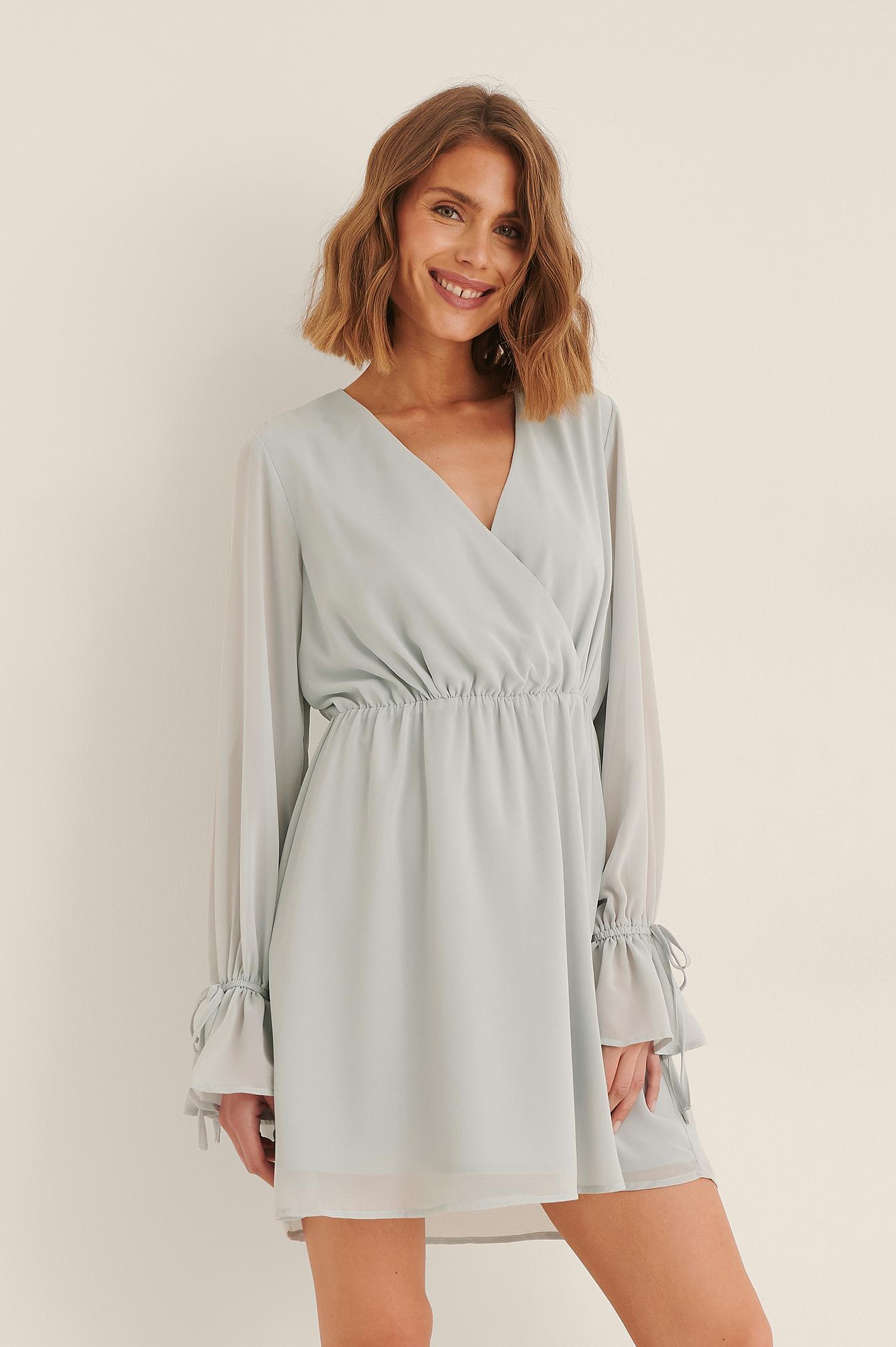 Na-kd Strap Tie Mini Dress - Blue