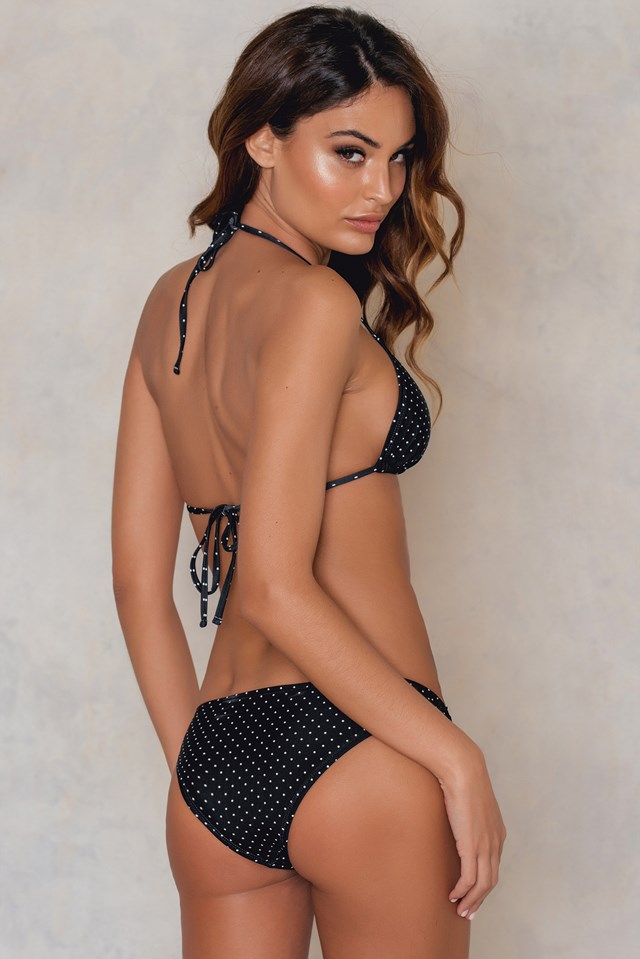 Strap Triangle Bikini Top Black/White Spots