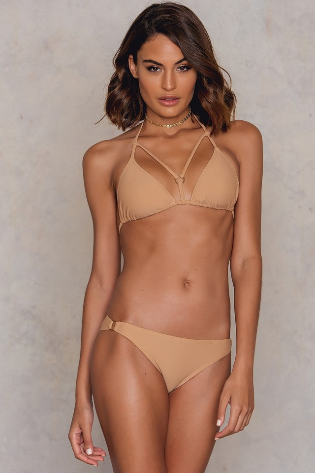 Strap Triangle Bikini Top Tan