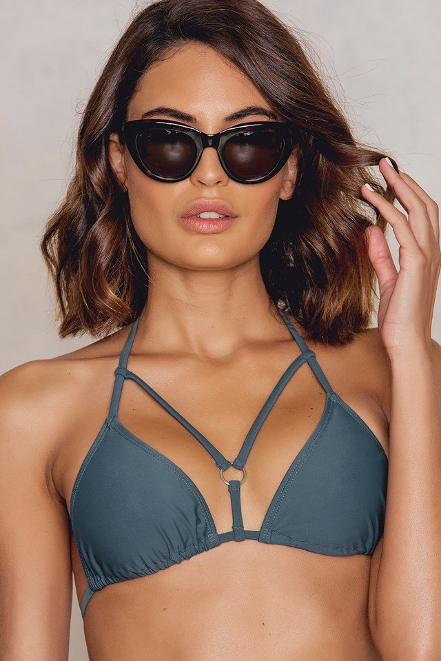 Strap Triangle Bikini Top Dusty Dark Blue