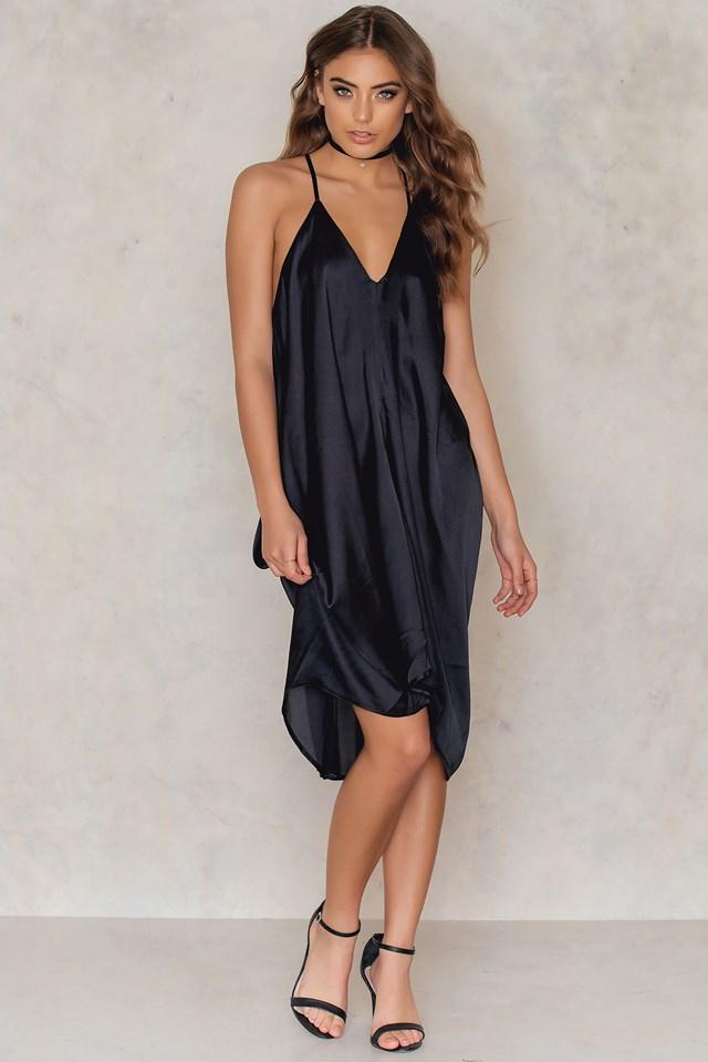 Strap Wide Short Dress Black