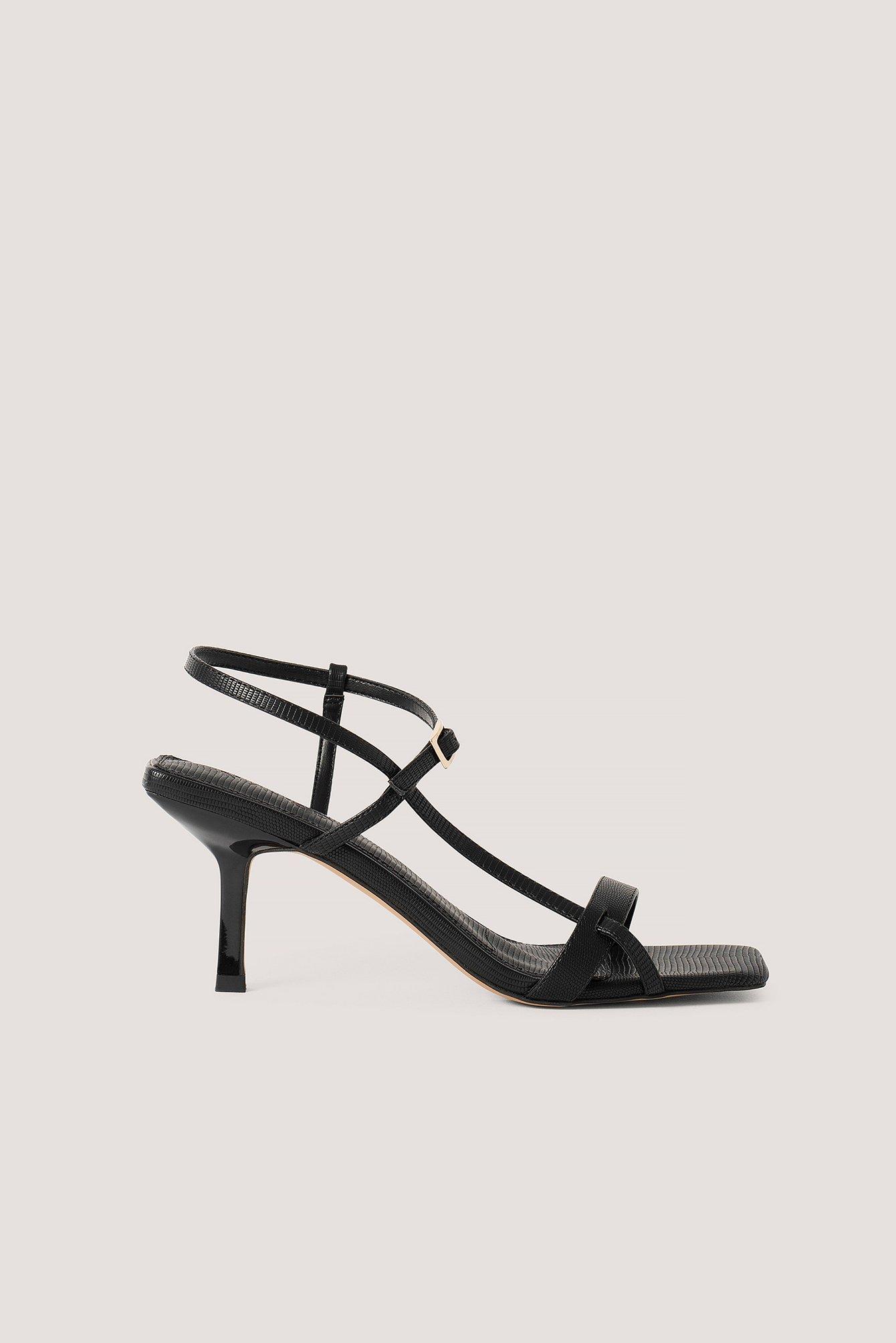 na-kd shoes -  Absatzschuhe Mit Mehreren Riemen Und Eckiger Front - Black