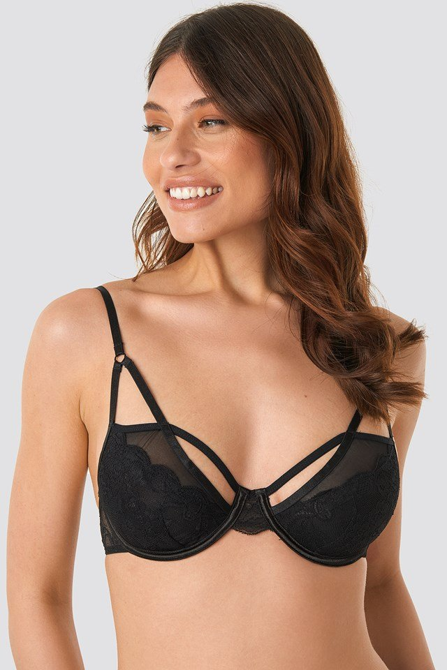 Strappy Cup Lace Mesh Mix Bra Black