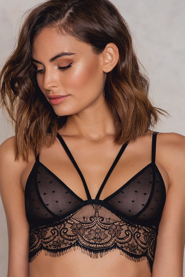 Strappy Eyelash Lace bra Black