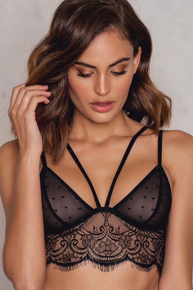 Strappy Eyelash Lace bra Black