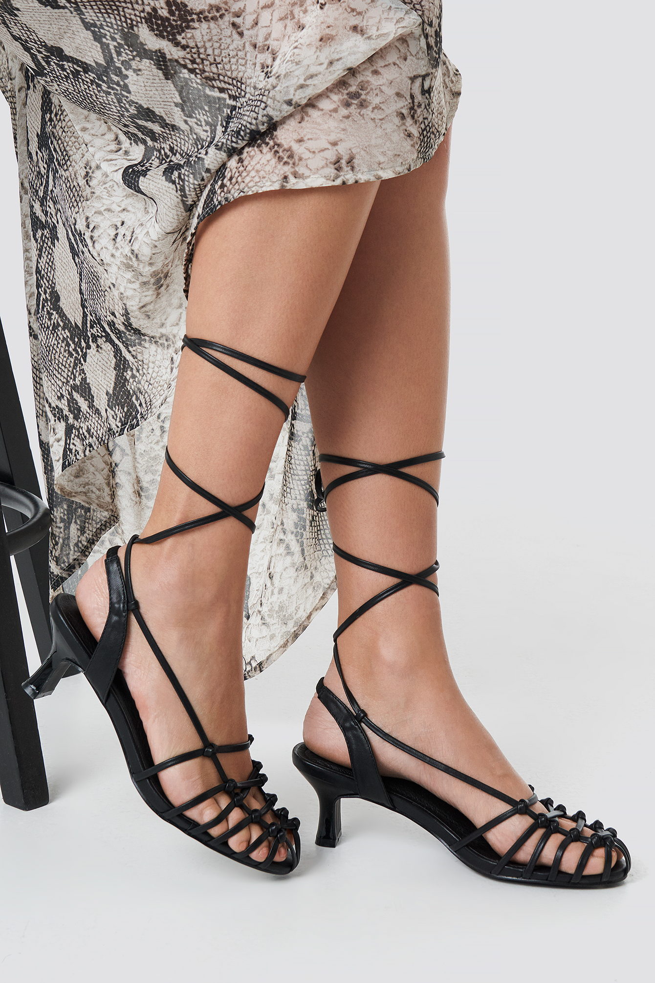 na-kd shoes -  Strappy Front Sandals - Black