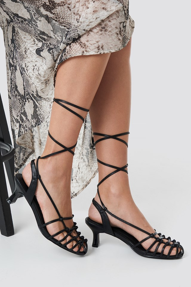 Strappy Front Sandals Black