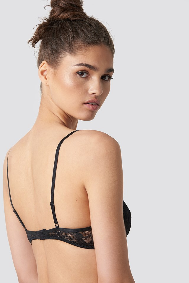 Strappy Cup Lace Bra Black