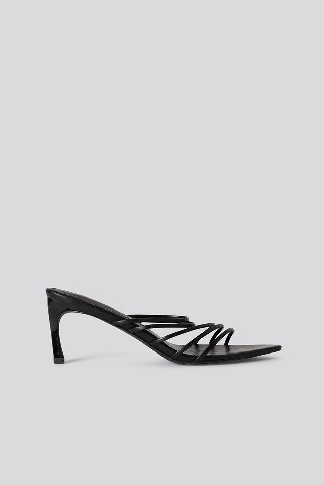 Strappy Pointy Sandals Black