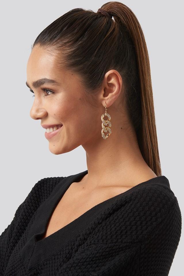 Strass Chain Earrings Gold