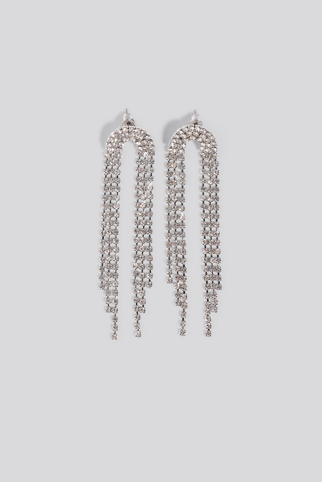 Strass Drop Chain Earrings NA-KD Accessories