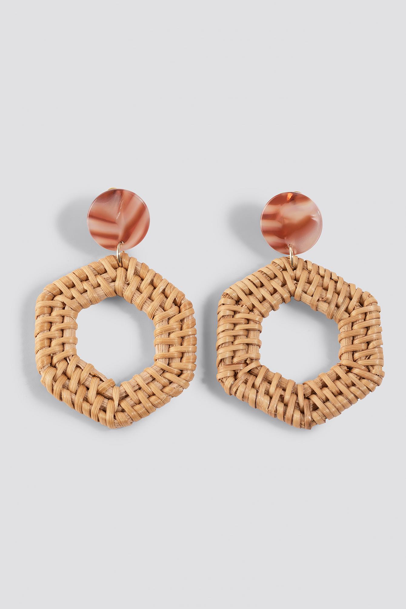 Straw Braided Hexagon Earrings NA-KD.COM