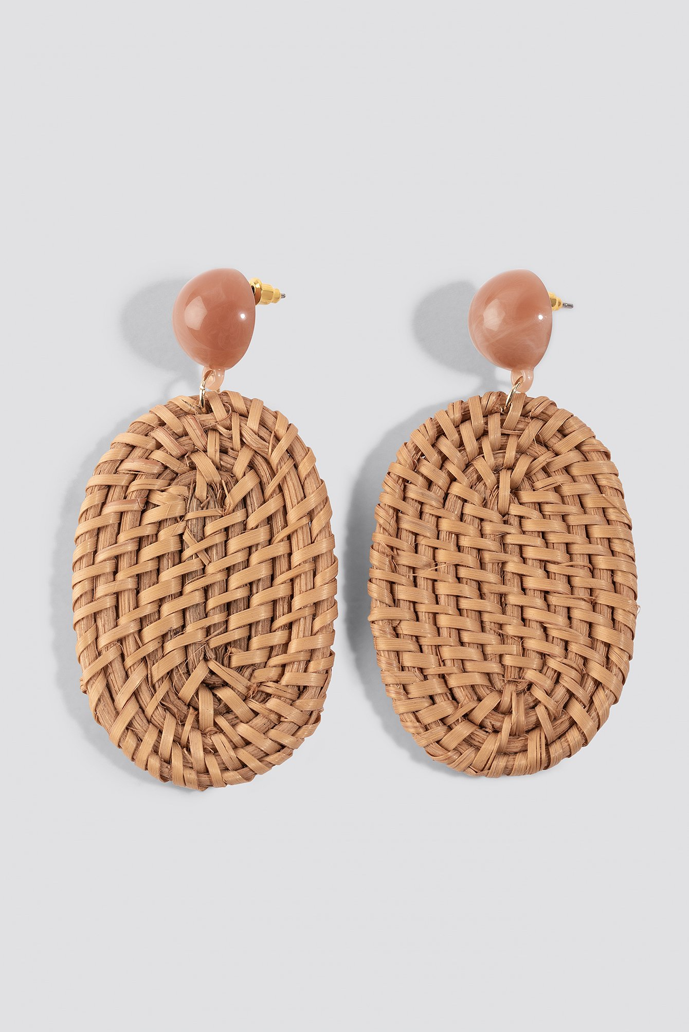 na-kd accessories -  Straw Braided Oval Earrings - Brown