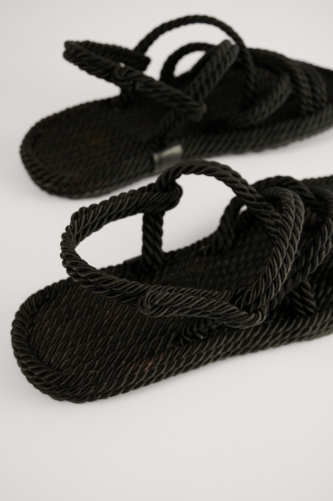 Black Straw Rope Sandals