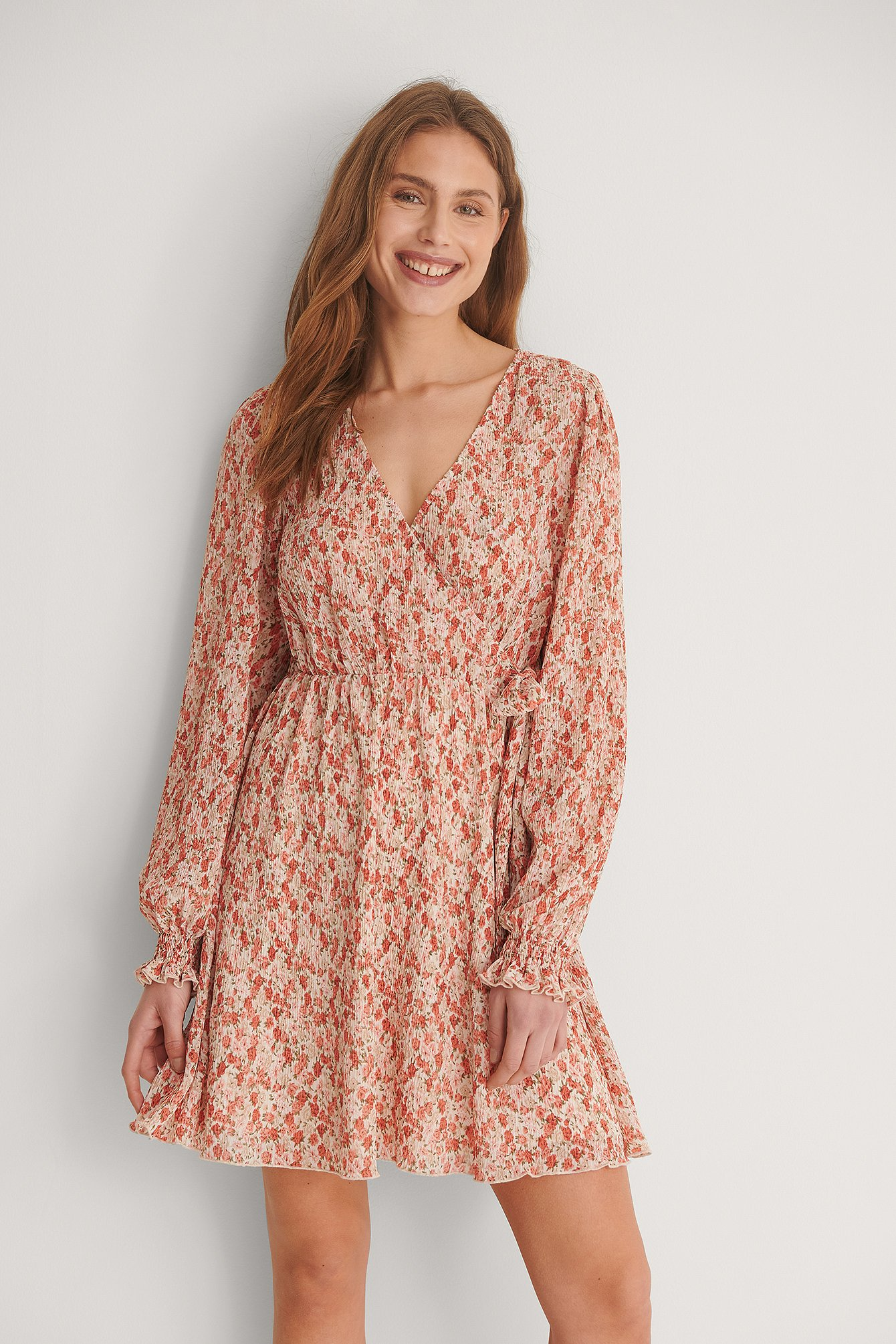 Rose/Flower Structured Overlap V-Neck Dress