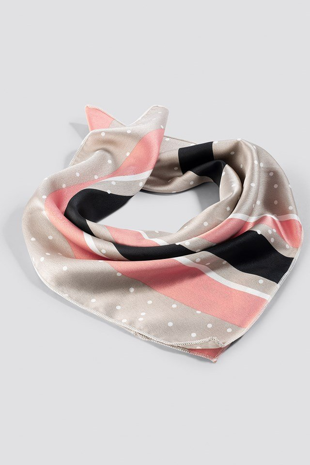 Stripe and Dots Satin Scarf Nude