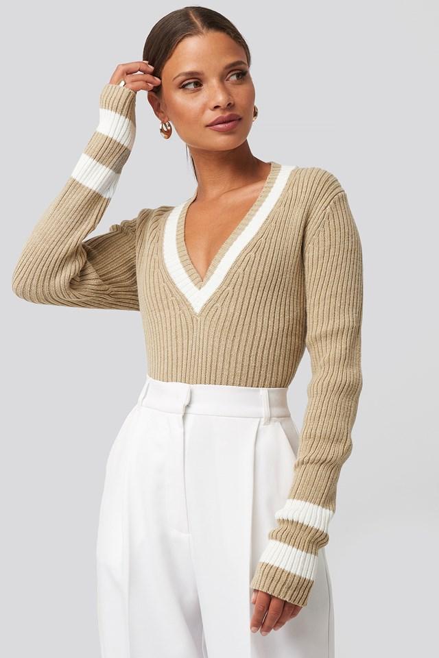 Stripe Detail V-neck Sweater Beige
