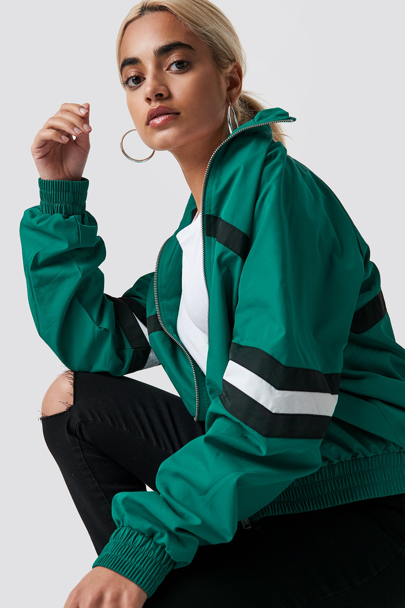 Petrol Stripe Detailed Tracksuit Jacket