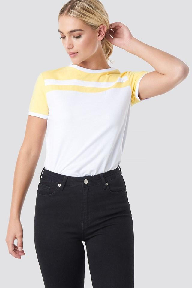 Stripe Ringer Tee White/Yellow Stripe