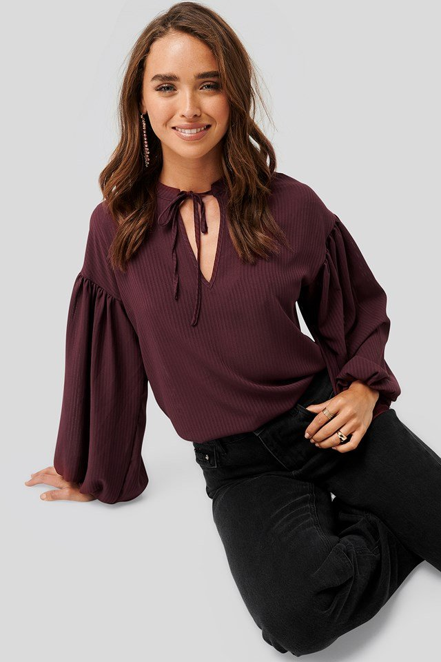 Striped Balloon Sleeve Blouse Burgundy