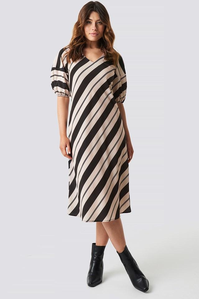 Striped Balloon Sleeve Dress Stripe