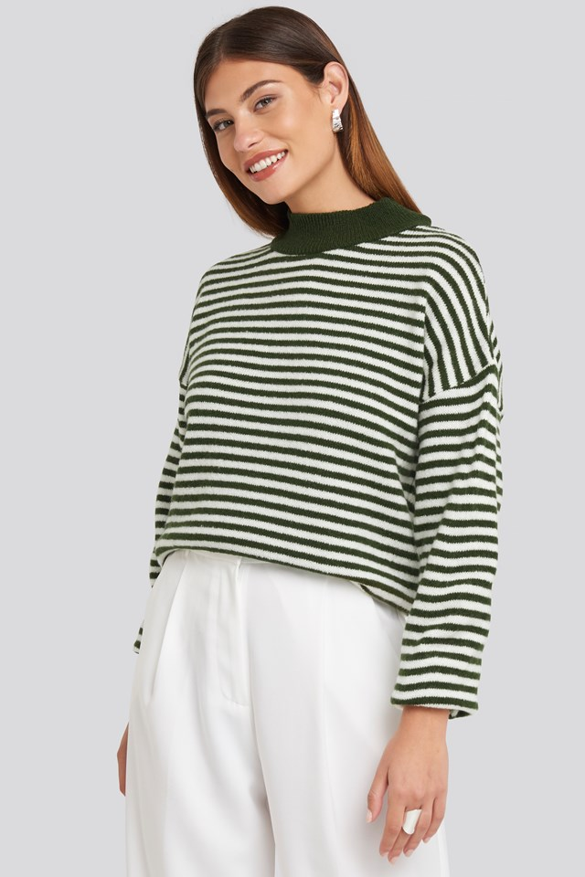 Striped Balloon Sleeve Knitted Sweater Green/White
