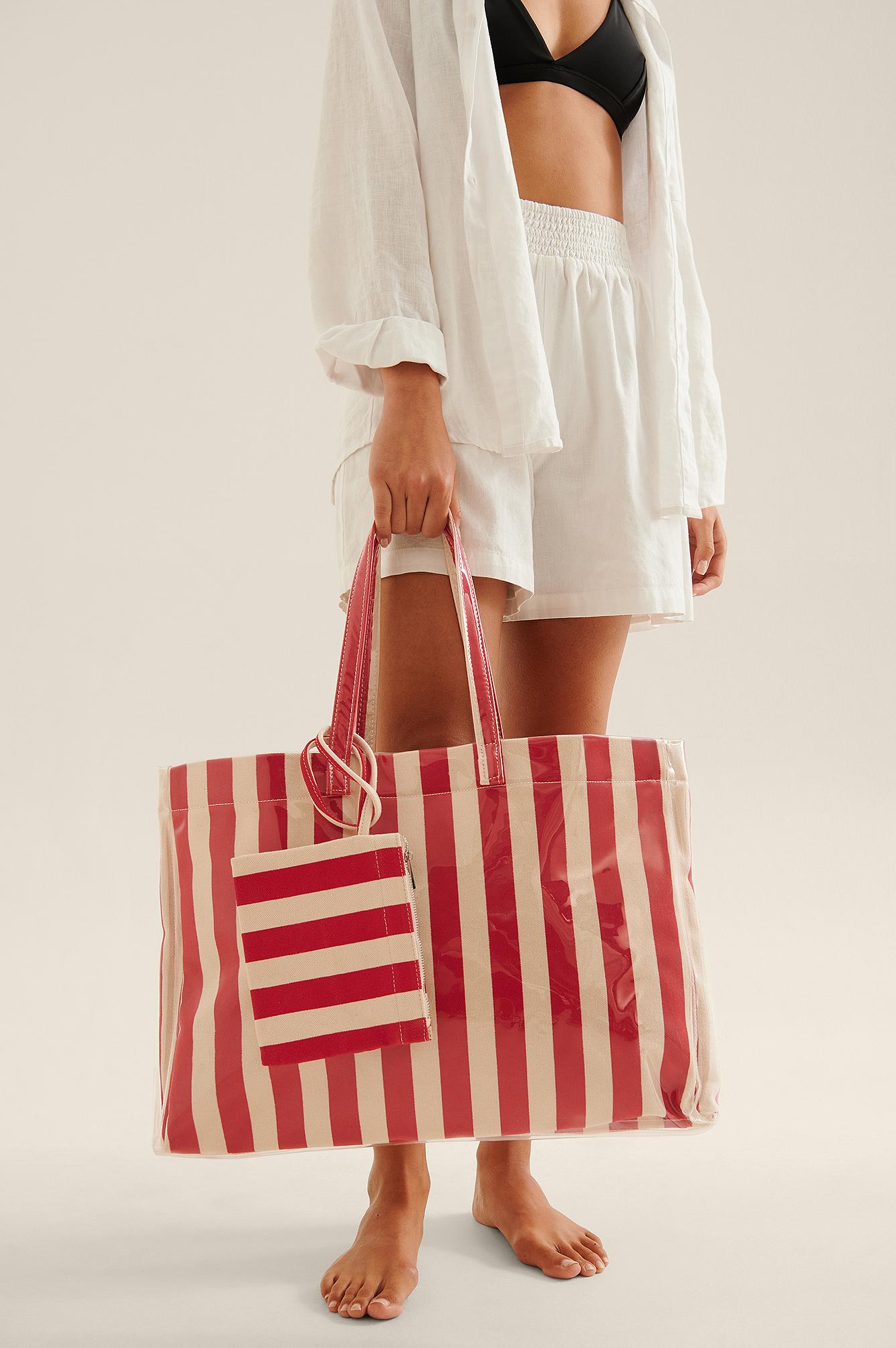 na-kd accessories -  Gestreifte Strandtasche - Red