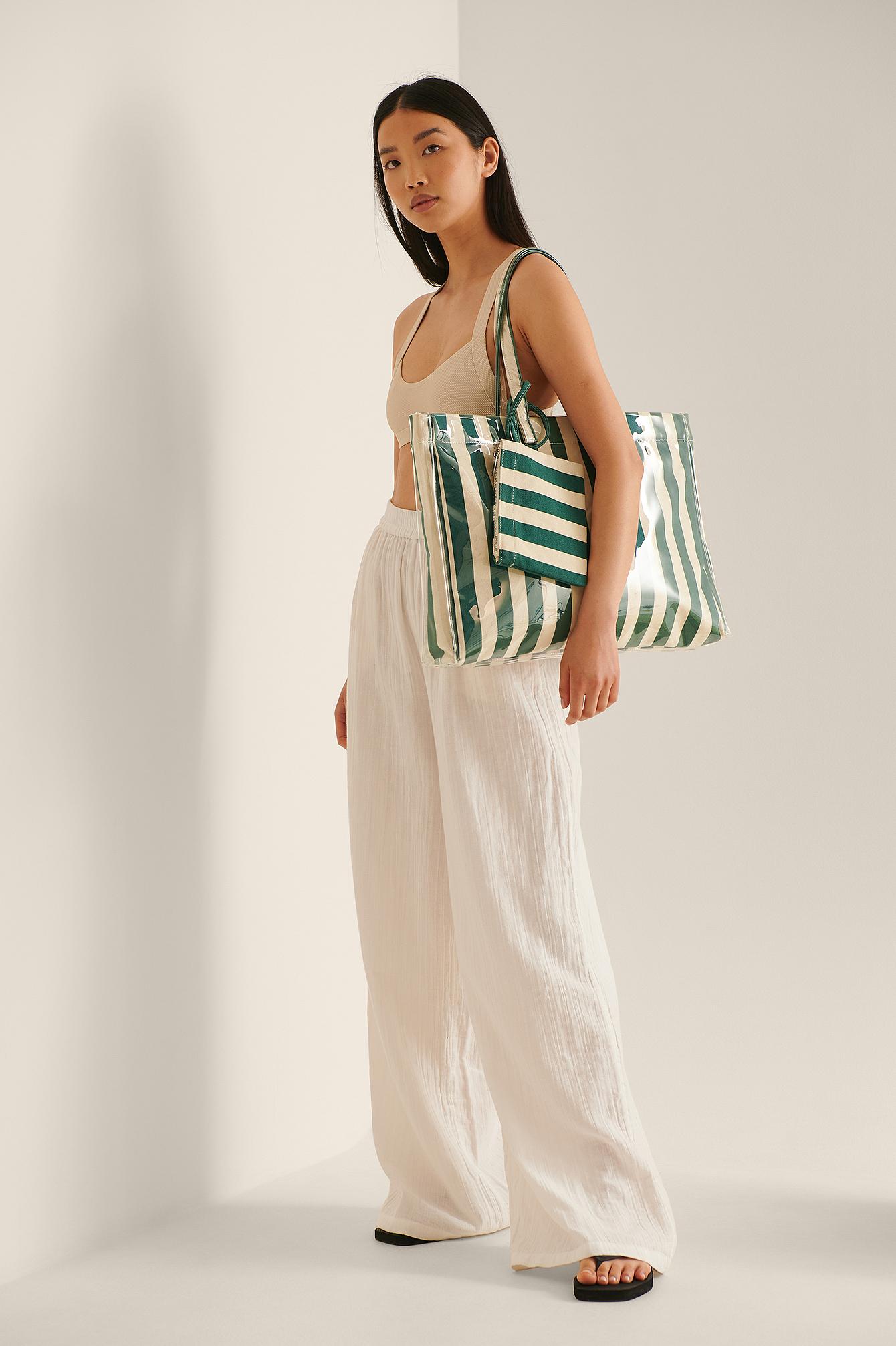 na-kd accessories -  Gestreifte Strandtasche - Green