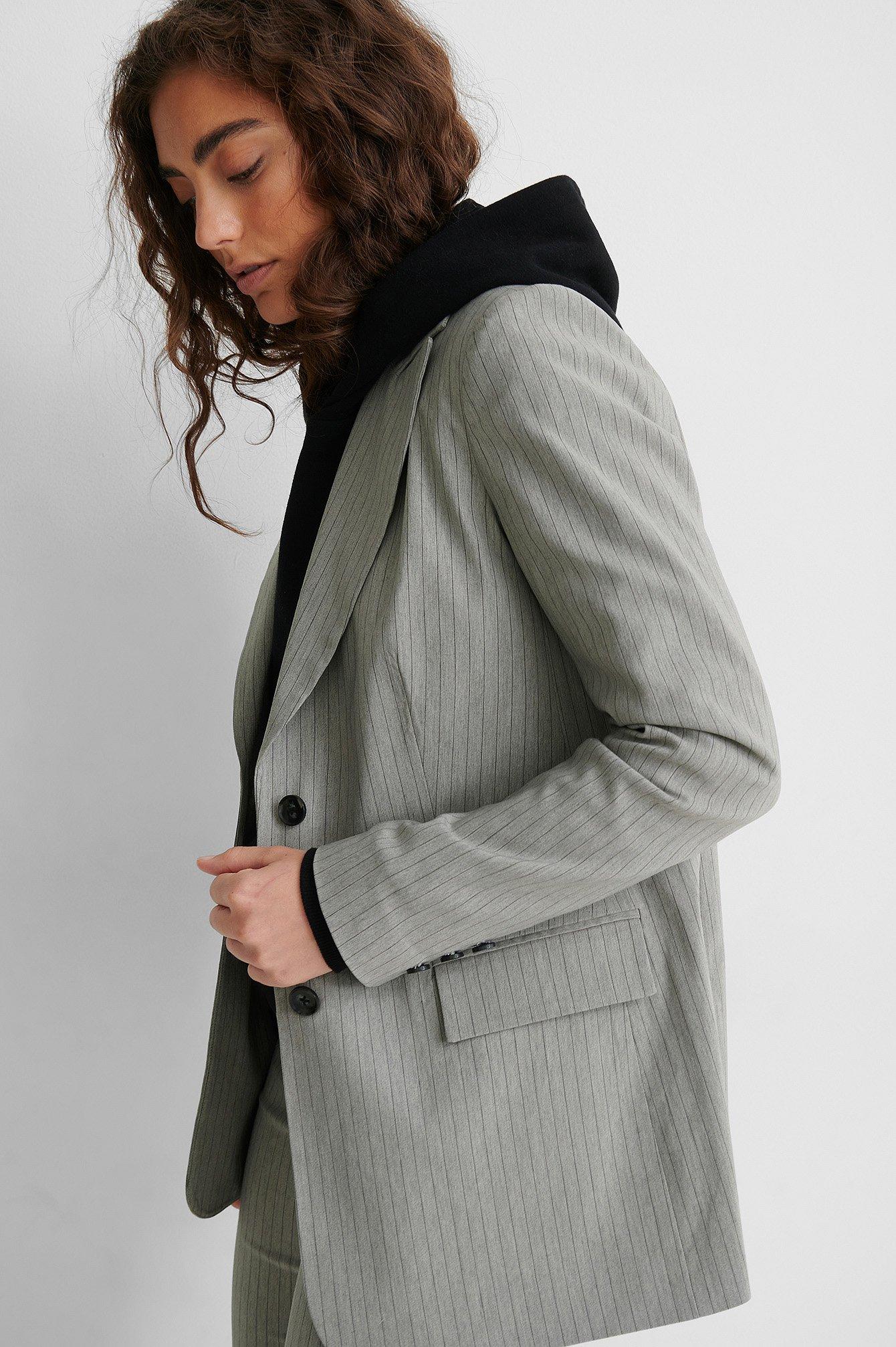 na-kd classic -  Gestreifter Blazer - Grey