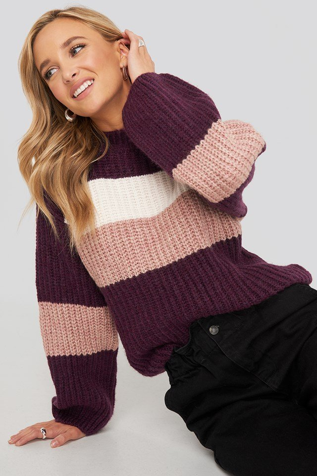 Striped Chunky Knitted Sweater Purple Combo