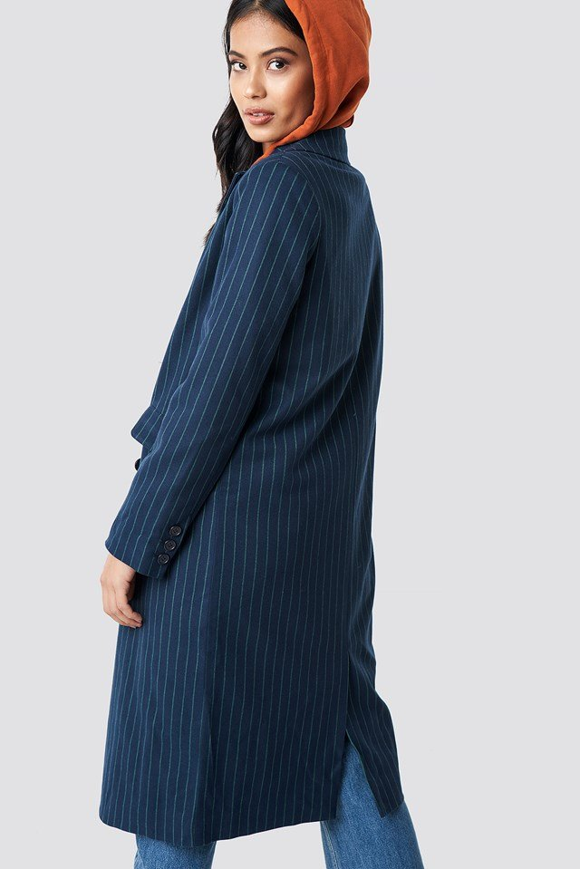 Striped Coat Dark Blue