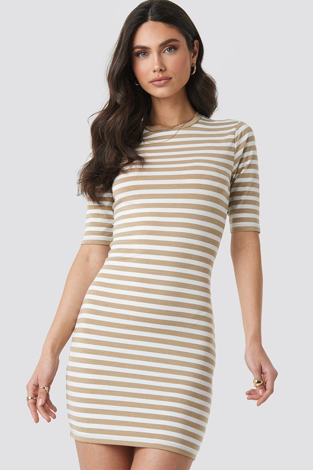 Striped Fitted T-shirt Dress Beige